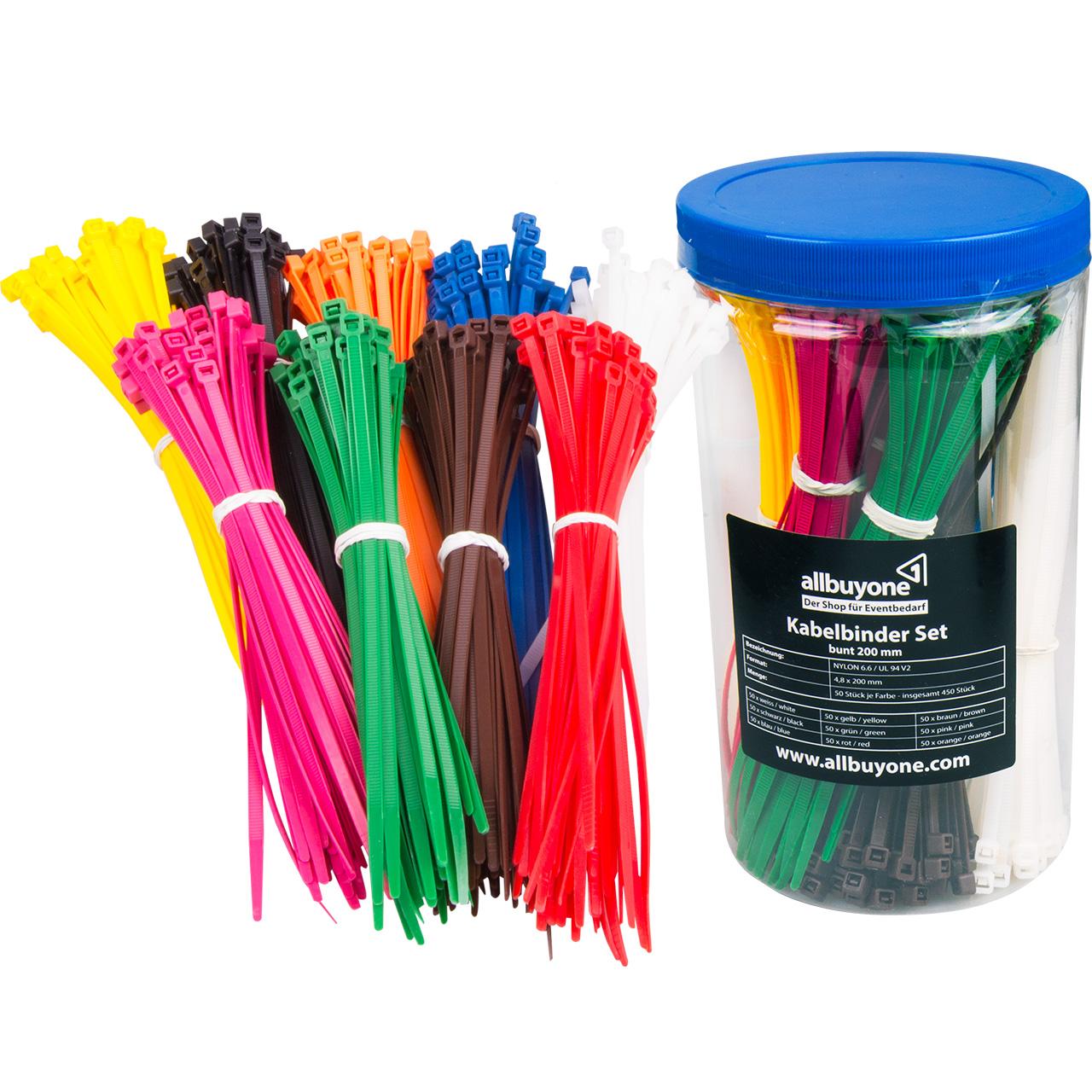 Farbige Kabelbinder kaufen, 450 tlg. Set | allbuyone