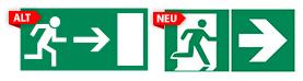 Zwei Schilder im Vergleich. Darstellung nach DIN 4844 und ISO 7010