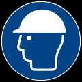 """Grafik Gebotsschild """"Kopfschutz benutzen"""" nach ISO 7010"""